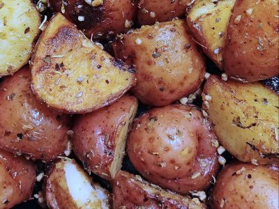close-up photo of roasted seasoned potatoes