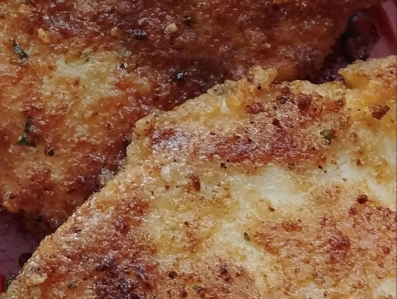 close-up photo of parmesan crusted chicken