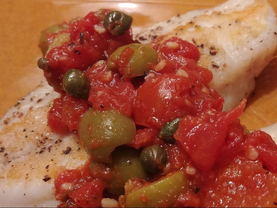 Snapper with Tomatoes, Olives, and Capers