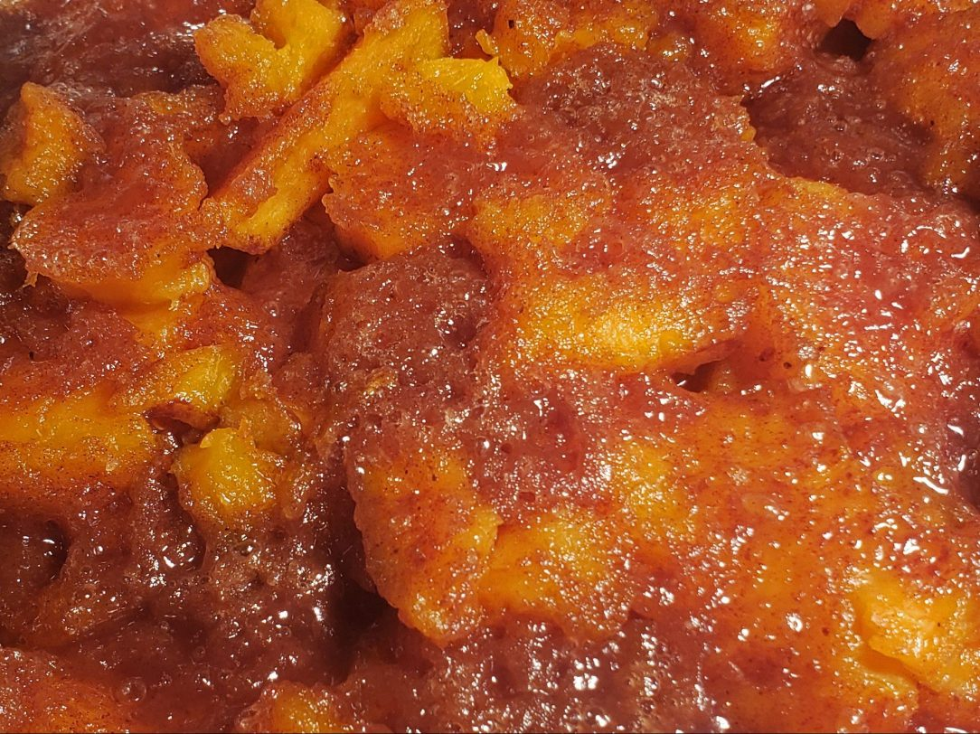 close-up photo of candied sweet potatoes
