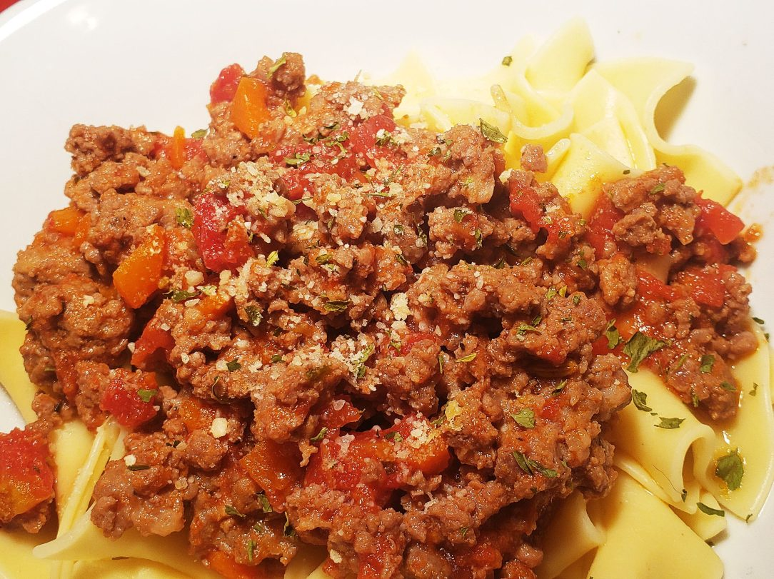 bolognese over pasta