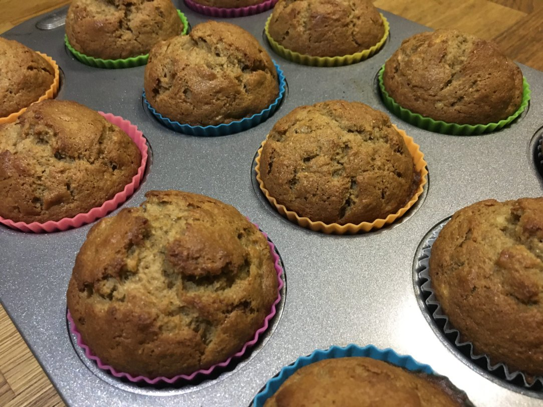 Spiced Banana Muffins in a muffin pan
