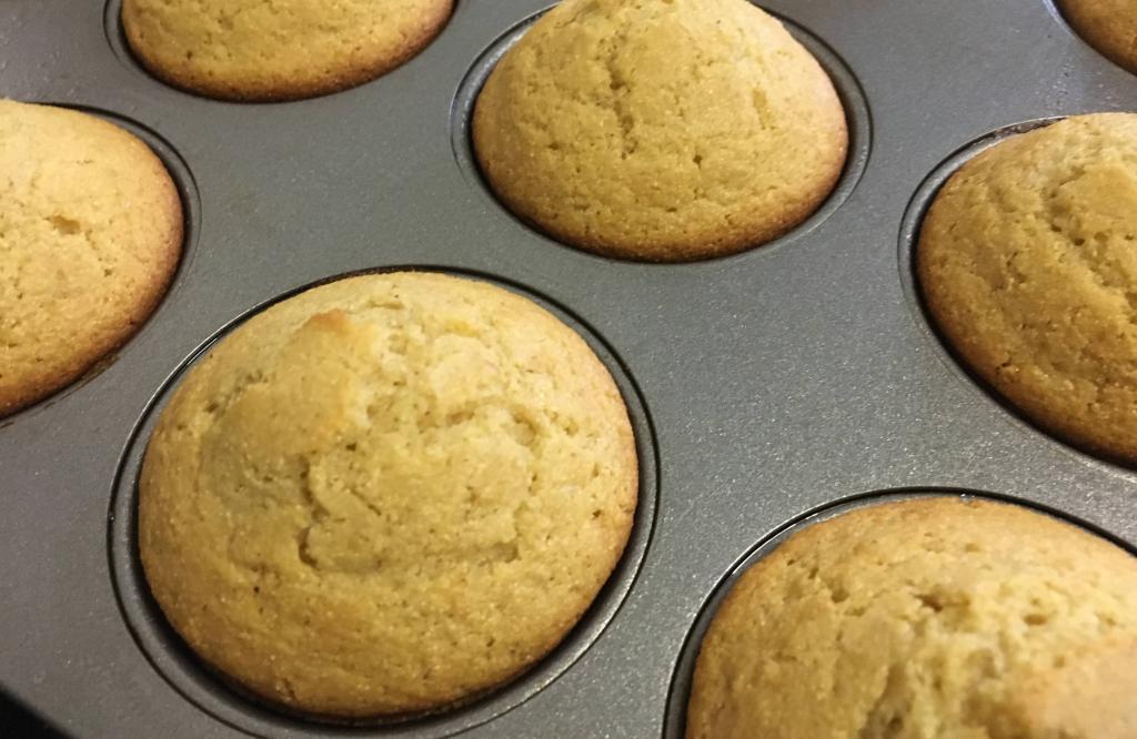 closeup of corn muffins in a muffin pan