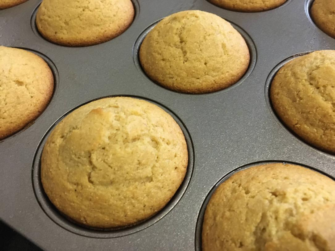 closeup of corn muffins in a muffin pan