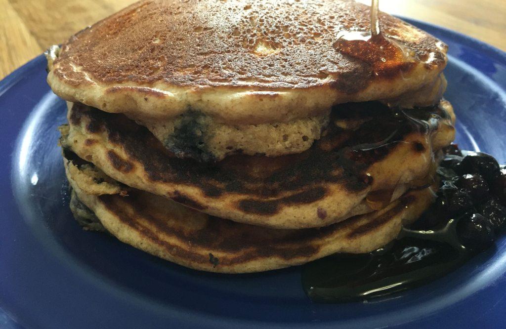 fluffy blueberry whole wheat pancakes