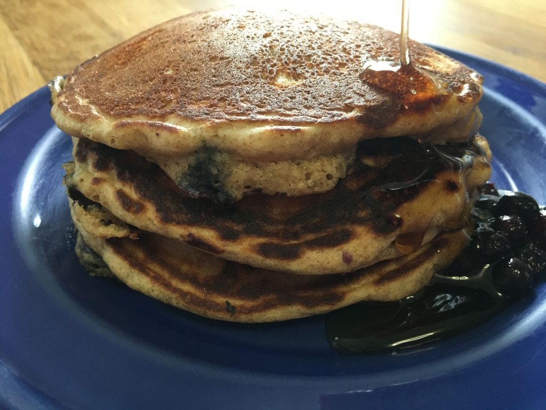 fluffy blueberry whole wheat pancakes